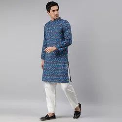 Janasya Men's Blue Cotton Kurta(MEN5010)