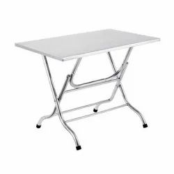 Max Industries Chrome Finish Stainless Steel Folding Table