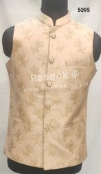 Festive Brocade Designer Golden Waist Coat