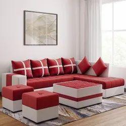Wooden Modern Red L Shape Sofa Set, Living Room, Size: 8 X 2.5 Feet