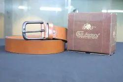 Tan Basic Male Genuine Leather Belt