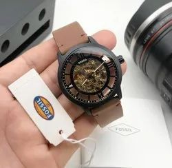 Brown And Black Fossil Automatic Watch For Man, Size: 44mm