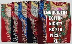 Embroidery Cotton Nighty