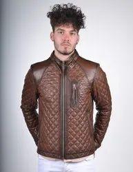 Handmade Men's Vintage Front Zipper Biker Jacket With High Stand Collar