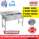 Double SS Two Sink For Restaurant Hotel