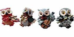 Polyresin Owl Playing Musical Showpiece Set Of 4