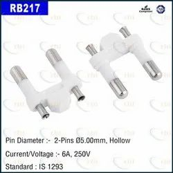 Two Pin Plug Insert Hollow 16.50 Dist. DIA 5.00MM White