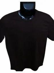 Round Men Coffee Half Sleeve Plain Cotton T Shirt