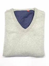 Men Gray V Neck Cotton Sweater