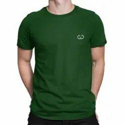 Round Half Sleeve Green Mens T Shirts