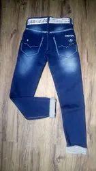 Party Wear Blue Kids Denim Stretchable Jeans, Size: 26, Handwash