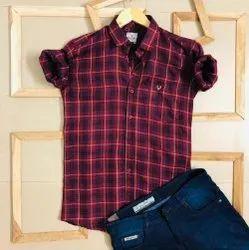 Red Collar Neck Mens Designer Casual Check Shirt, Machine wash, Size: S To Xxl
