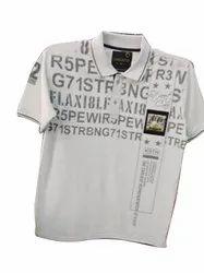 Polo Neck Half Sleeve Mens White Plain Cotton T Shirt