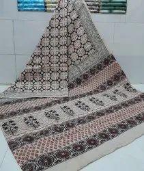 Exclusive Natural Bagru Dabu Hand Block Printed Cotton Saree With Blouse Piece.
