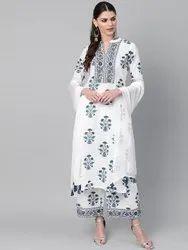 Women Pure Cotton Kurta With Palazzo & Dupattas Set