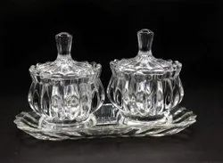 Glass Bowl with Lid and Tray Serving Lotus Shape(Set of 3 Piece) 2 Candy Bowl 1 Tray