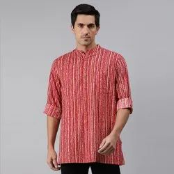 Janasya Men's Pink Cotton Kurta(MEN5015)