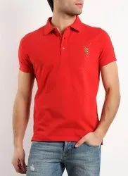 Half Sleeve 4 Way Lycra Mens Red Collar T-Shirts, Size: Small