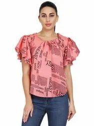 Half Sleeves pink Girls Top