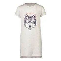White Daily Wear Ladies Printed Long Half Sleeve T Shirt, 250 Gsm, Size: Large