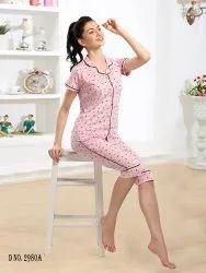 Cotton Ladies Baby Pink Capri Night Suit, Shirt,Capri
