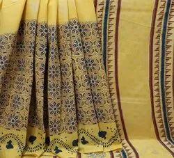 Natural Bagru Hand Block Printed Cotton Saree.