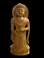 Gautam Buddha Standing Wooden Murti