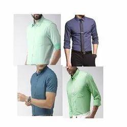 Cotton Plain Men Slim Fit Shirt