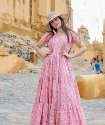 Pink Ladies Gown Dress