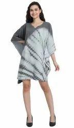 Women Free Size Beach Wear Short Length Printed Tie Dye Cotton Kaftan