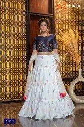 ANK Enterprise Art Silk & Georgette & Crepe Stylish Designer Occasional Embroidered Lehengha Choli