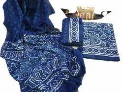 Dark Blue Traditional Printed Cotton Unstitched Salwar Suit