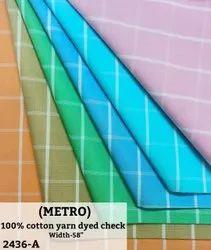 Metro 100% Cotton Yarn Dyed Check Shirting Fabric