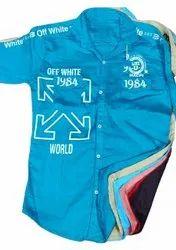 Full Sleeves Cotton Men Sky Blue Plain Shirt, Size: m L