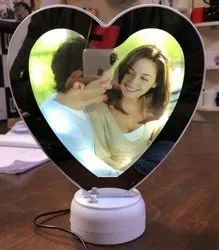 Glass Heart Shape Magic Mirror, For Home, Size: 10 Inch