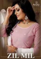 Azara Zil Mil Cambric Cotton With Self Embroidery Work Dress Material Catalog