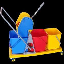Three Bucket Mop Wringer Trolley