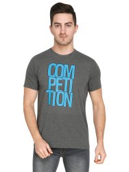 Full Length Dark Grey Mens Casual Wear Printed T Shirt