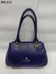 Starco Plain Ladies Casual Navy Blue Leather Handbag, Size: 12 X 13 X 4.5 Inch (hxlxd)