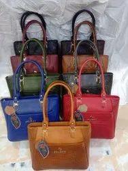 Ladies Daily Wear Zipper Leather Handbag