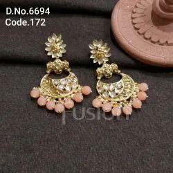 Fusion Arts Brass Kundan Chandbali Earrings