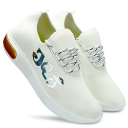 Synthetic Standard JQS Men White Fashionable Running Shoes, Size: 6 To 9