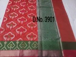 6.5 Meter Casual Ladies Red Printed Ikkat Saree, With Blouse Piece