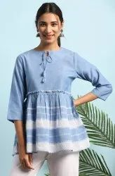 Janasya Women's Blue Cotton Top(J0113)