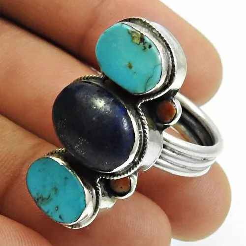 925 Sterling Silver Turquoise Lapis Coral Three Stone Ring Handmade Jewellery