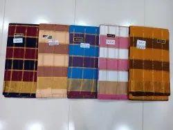 Handloom South Cotton Checks Mangalgiri Saree with Blouse