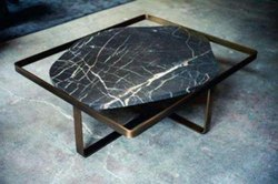Luxury Metal Square Frame Center Table With Black Thick Pentagon Shape Curved Marble