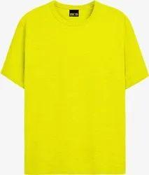 Men Plain Light Yellow T Shirt