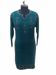 Casual Wear Straight Ladies Trendy Woolen Long Kurti, Wash Care: Machine Wash
