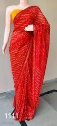 Casual Wear Plain Bandhej Saree, Handmade Bhndhej, With Blouse Piece